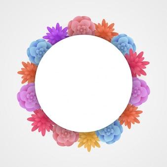 Kolorowy papierowy kwiat z białą przestrzeń dla Ciebie tekst.