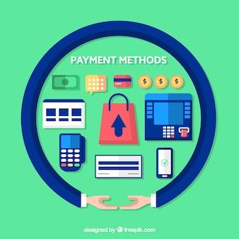 Kolorowy zestaw metod płatności