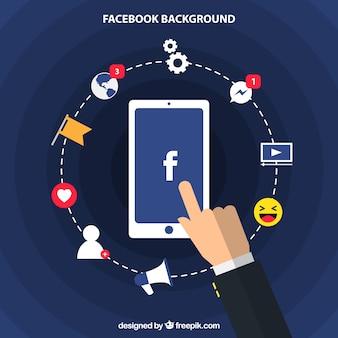 Komórka tło z elementami Facebook w płaskiej konstrukcji