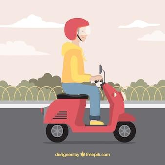 Koncepcja elektrycznych rowerów z mężczyzną na sobie kasku