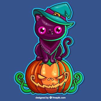 Kot Halloween z oryginalnym stylem