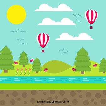 Krajobraz z balonami w płaskiej konstrukcji