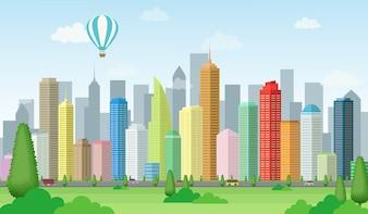 Krajobrazu miasta, ilustracji śródmieścia z zielonym polu i gorącym powietrzem balonu