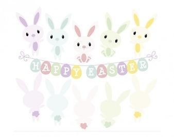 Króliki w szczęśliwej Wielkanocy