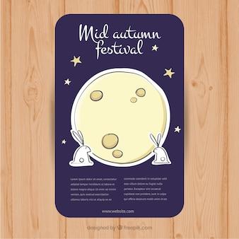 Króliki obok księżyca na festiwalu w połowie jesieni
