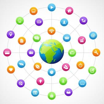 Kształt ziemi z mediami społecznościowymi