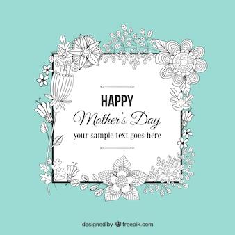 Kwiatowe doodle dzień matki z życzeniami