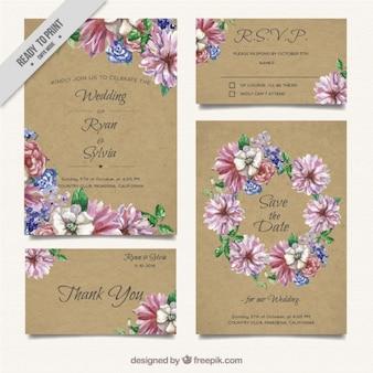 Kwiatowy zaproszenie na ślub