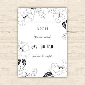 Kwiaty zapisać projekt karty daty