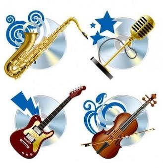 Lśniące instrumenty muzyczne z niebieskimi kształtach