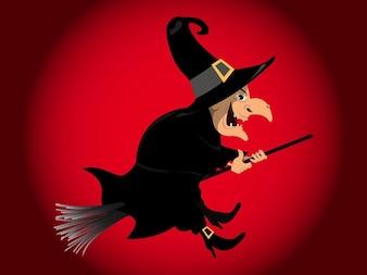 Latające wektory magicznych czarownic kapelusz pointy