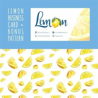 Lemon kawiarni akwarela szablonu wizytówki