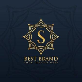 Litera S projektowanie logo w stylu streszczenie ramka ze złotym