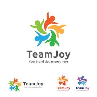 Logo Team Joy, ikona pracy zespołowej osób