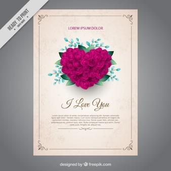 Love karty z serca składa się z róż