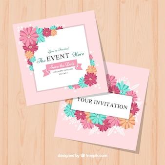 Lovely zaproszenie ślubne z kwiatowym stylu