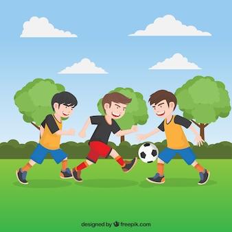Młodzież mecz piłki nożnej w tle