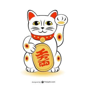 Maneki-neko szczęście kot wektor