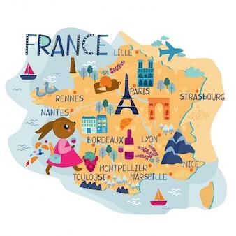 Mapa Francji ilustracji