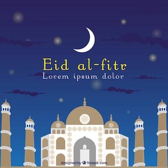 Meczet i księżyc eid al-fitr tle