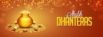 Media społecznościowe Układ nagłówków dla festiwalu Shubh Dhanteras.