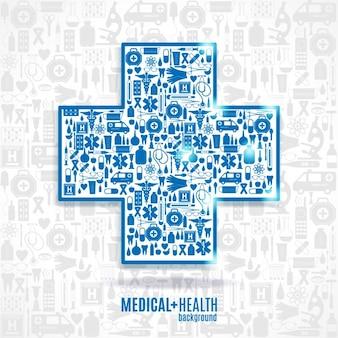 Medycyna ikona tle Krzyż zestaw