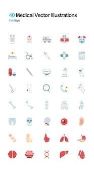 Medycznych Płaski Ilustracja