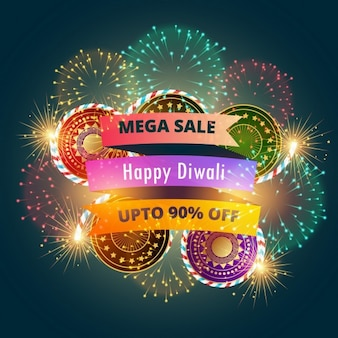 Mega Diwali sprzedaży banner plakat z fajerwerkami