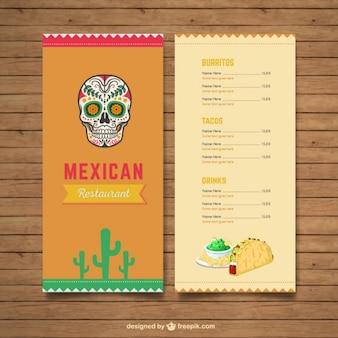 Menu restauracji meksykańskiej