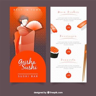Menu restauracji sushi