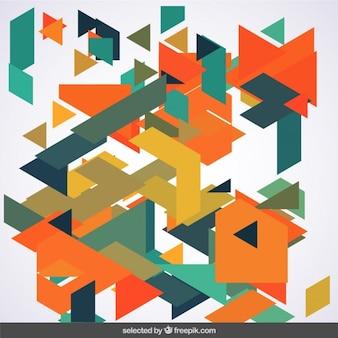 Messy wielokątów w zielonych i pomarańczowych kolorach