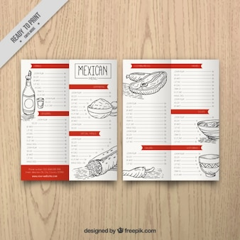 Mexican menu restauracji z przedstawionymi ilustracjami