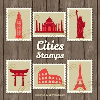 Miasta znaczki spakować