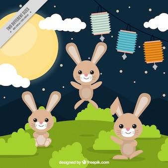 Mid-Autumn Festival tło króliki na łące