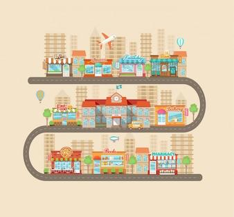 Miejski krajobraz i życie miejskie.