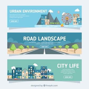 Miejskie banery krajobraz