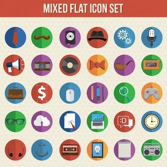 Mieszane płaskim zestaw ikon