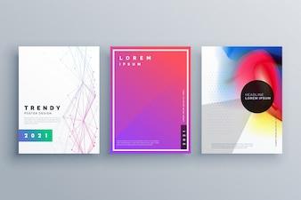 Minimalny zestaw broszur z liniami i płynnymi kolorami