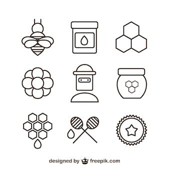 Miód proste ikony zestaw