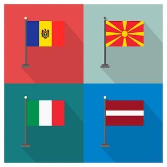 Mołdawia Macedonia Włochy i Łotwa Flagi