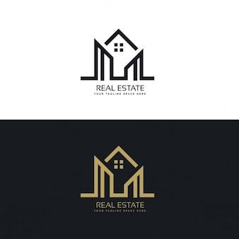Mono linia domu projektowanie logo firmy nieruchomości