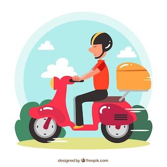 Motocykl na tle dostawy