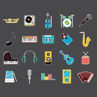 Muzyka ikony kolekcja przyrządów