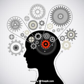 Myślenia obraz mózgu materiał wektor
