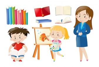 Nauczyciel i uczniowie ze szkolnymi przedmiotami