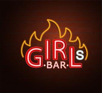 Neon znak gorącej dziewczyny bar.