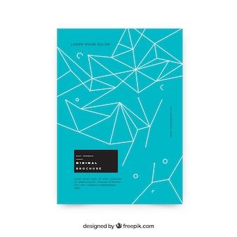 Niebieska broszura z wielobocznymi kształtami linii
