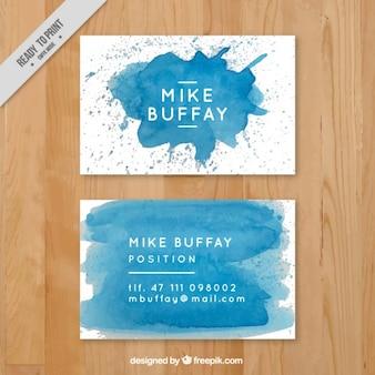 Niebieska farba plam kart biznesowych