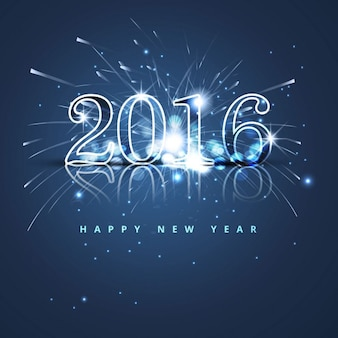 Niebieski brokat nowego roku 2016 w tle