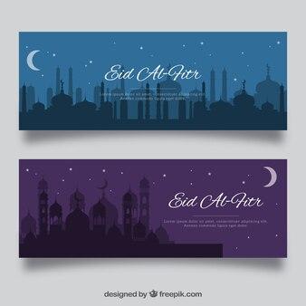 Niebieski i fioletowy banner eid al fitr